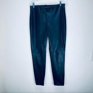Zara Basic Faux Leather Cigarette Pants Black Zip